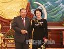 Chủ tịch Quốc hội chào Tổng Bí thư, Chủ tịch nước Lào