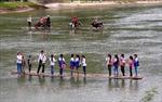 Nguy hiểm từ những chiếc bè mảng đưa học sinh đến trường
