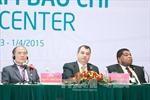 Chủ tịch Quốc hội Nguyễn Sinh Hùng và Chủ tịch IPU chủ trì họp báo bế mạc IPU-132
