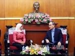 Đồng chí Nguyễn Thiện Nhân tiếp Chủ tịch Quốc hội Singapore