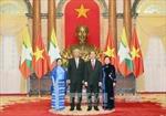 Chủ tịch nước chiêu đãi trọng thể Tổng thống Myanmar và Phu nhân