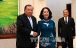 Tổng Bí thư, Chủ tịch nước Lào tiếp đoàn cấp cao Đảng ta