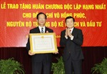 Chủ tịch nước Trương Tấn Sang trao Huân chương Độc lập hạng Nhất cho đồng chí Võ Hồng Phúc