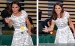 Công nương Kate mặc váy 35 bảng chơi bóng bàn