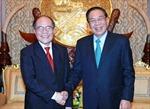 Chủ tịch Quốc hội Nguyễn Sinh Hùng hội đàm với các đồng chí lãnh đạo Đảng và Nhà nước Lào