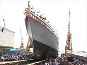 Ấn Độ hạ thủy tàu khu trục mới INS Visakhapatnam