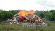 Trà Vinh tiêu hủy gần 58.000 bao thuốc lá điếu nhập lậu