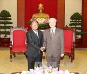 Tổng Bí thư tiếp Đoàn đại biểu cấp cao Quốc hội và Hội đồng Dân tộc Mặt trận Đoàn kết Phát triển Tổ quốc Campuchia