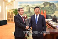 Đồng chí Đinh Thế Huynh hội kiến Tổng Bí thư ĐCS Trung Quốc