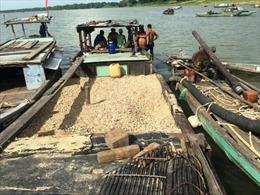 Bắt quả tang các đối tượng khai thác cát trái phép trên sông Thu Bồn