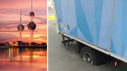 Kuwait: Nắng nóng kinh hoàng, đường 'tan chảy' khiến ô tô sụt hầm
