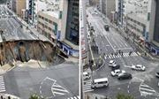 Vừa sửa xong, hố tử thần khổng lồ tại Nhật Bản lại sụt