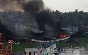 Phú Yên: Cháy nổ lớn tại cảng cá Tiên Châu thiêu rụi nhiều tàu cá