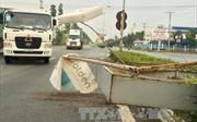 Mưa lớn khiến biển quảng cáo bất ngờ đổ sập xuống đường