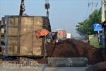 Xe chở hàng tấn vỏ hạt điều lật ngang quốc lộ 1