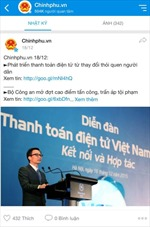 Trang Chinhphu.vn trên Zalo thu hút nhiều người quan tâm