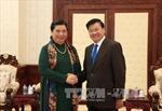 Lãnh đạo cấp cao Đảng, Nhà nước Lào tiếp đoàn đại biểu cấp cao Đảng, Nhà nước ta