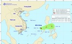 Vùng áp thấp tiếp tục di chuyển theo hướng Đông Đông Bắc