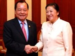 Chủ tịch Quốc hội Lào tiếp Đoàn đại biểu cấp cao Thành phố Hồ Chí Minh