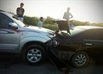 6 'xế hộp' đâm nhau trên cao tốc Pháp Vân