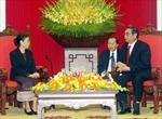 Đồng chí Lê Hồng Anh tiếp Đoàn cán bộ Ủy ban Trung ương Mặt trận Lào xây dựng đất nước