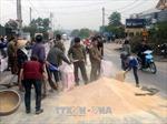 Lực lượng công an và người dân giúp chủ xe container thu gom cám bị đổ trên đường