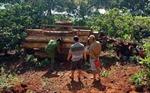 Lật xe công nông chở gỗ, 1 người chết, 2 người bị thương