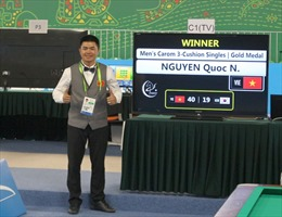 Nguyễn Quốc Nguyện giành HCV Billiards Carom 3 băng
