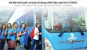 Hà Nội mở tuyến xe buýt sử dụng nhiên liệu sạch từ 1/7/2018