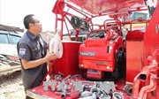Đội chữa cháy cơ động dưới chân núi Langbiang
