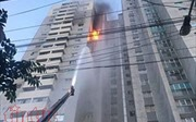 Cháy bùng bùng tại chung cư CT3 Bắc Hà (Hà Đông, Hà Nội) nghi do chập điện